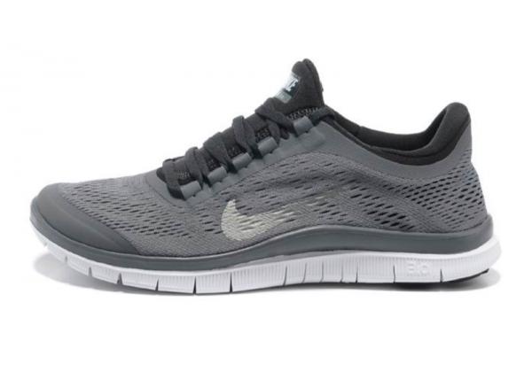 Кроссовки Nike Free Run 3.0 серые с белым