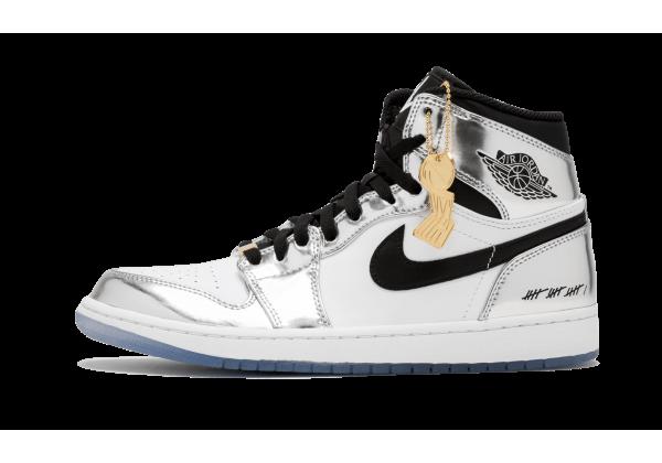 Jordan кроссовки 1 Hi Retro Think 16 серебристые