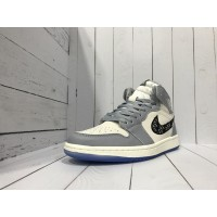 Кроссовки Nike Dior Air Jordan бело-серые с черным
