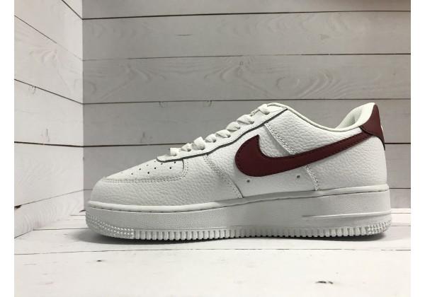 Кроссовки Nike Air Force кожаные белые с красным
