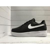 Кроссовки Nike Air Force кожаные черные с белым