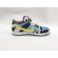 Кроссовки Nike Air Force черно-бело-голубые с желтым