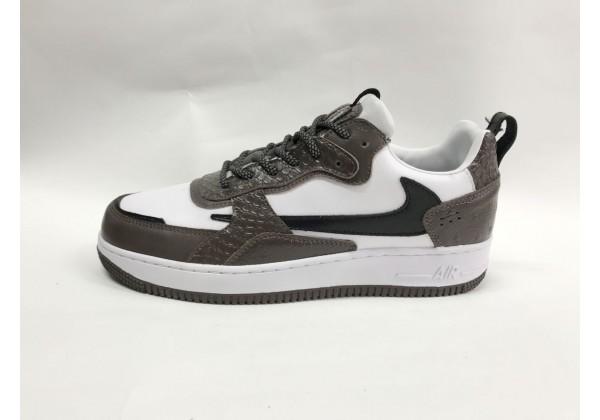 Кроссовки Nike Air Force бело-коричневые
