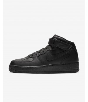 Зимние кроссовки Nike Air Force 1 Mid All Black черные