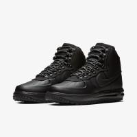 Зимние кроссовки Nike Lunar Force 1 Duckboot All Black With Fur черные