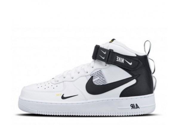 Зимние кроссовки Nike Air Force 1 Mid 07 LV8 White Black белые с черным