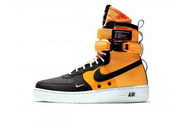 Зимние кроссовки Nike Air Force 1 SF AF1 High черные с оранжевым