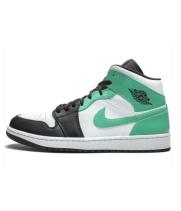 Кроссовки Air Jordan 1 Mid белые с зеленым