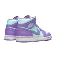 Кроссовки Air Jordan 1 Mid фиолетовые с зеленым