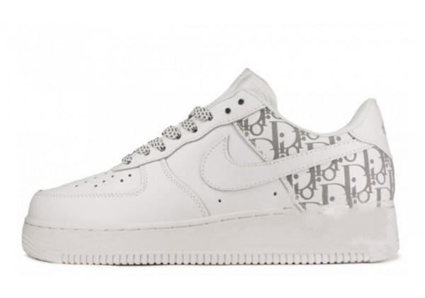 Кроссовки Nike Dior Air Jordan белые низкие