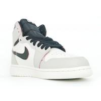 Кроссовки Nike Air Jordan 1 белые с серым