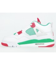 Кроссовки Nike Jordan 4 белые с зеленым