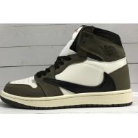 Кроссовки Nike Air Jordan коричнево-белые с черным