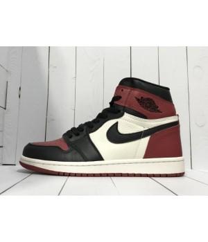 Кроссовки Nike Air Jordan черно-красные с белым