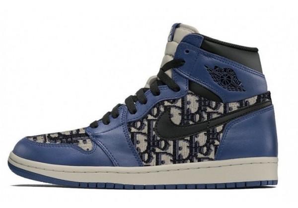 Кроссовки Nike Dior Air Jordan синие