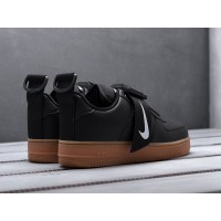 Кроссовки Nike Air Force 1 Utility черные с коричневой подошвой