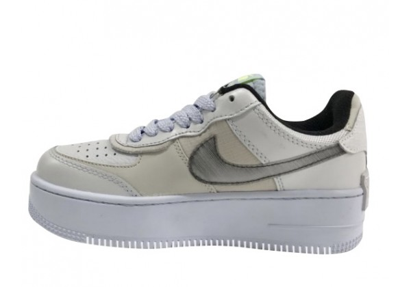 Кроссовки Nike Air Force бежево-белые с серым