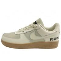 Кроссовки Nike Air Force бежевые с надписью