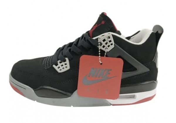 Кроссовки Nike Air Jordan черно-серые с красным