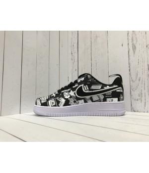 Кроссовки Nike Air Force с узорами черные
