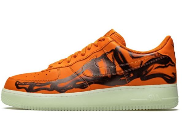 Кроссовки Nike Air Force 1 Low Skeleton оранжевые