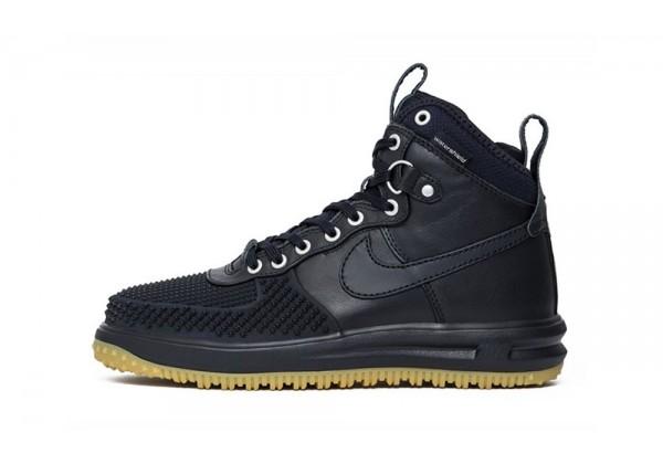 Кроссовки Nike Lunar Force 1 высокие кожа нейлон черные