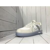 Кроссовки Nike Air Force бело-бежевые с зеленым