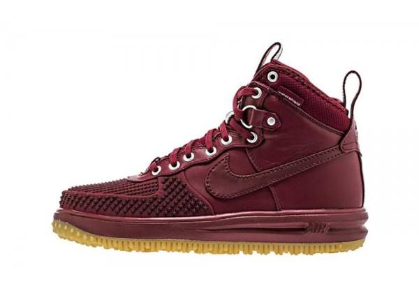 Кроссовки Nike Lunar Force 1 высокие бордовые