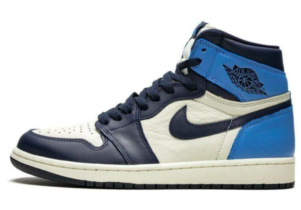 Nike Air Jordan Retro 1 High Obsidian (Белые с голубым)