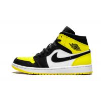 Nike Air Jordan Retro 1 Mid (Черные с желтым)