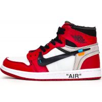 Nike Air Jordan Retro 1 High Og x Off-White (Белые с красным)