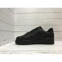 Кроссовки Nike Air Force кожаные черные моно