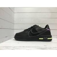 Кроссовки Nike Air Force с салатовой вставкой черные