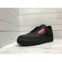 Кроссовки Nike Air Force с красной вставкой черные