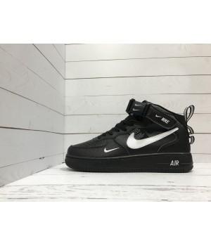 Nike кроссовки Air Force высокие черные с белым