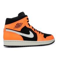Nike кроссовки Air Jordan 1 Mid Black Cone оранжево-чёрные