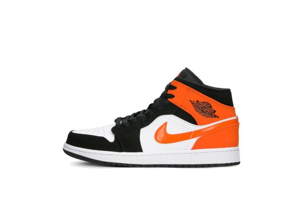 Nike Air Jordan 1 Mid OG Shattered Backboard бело-чёрные с оранжевым