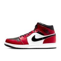 Nike кроссовки Air Jordan 1 Mid Chicago Black Toe красные с белым