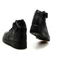 Найки кроссовки Air Force 1 Mid Black мужские черные