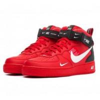 Nike кроссовки Air Force 1 07 LV8 Utility Mid Red с мехом
