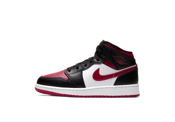 Nike Air Jordan 1 Mid GS Black чёрные с белым и малиновым