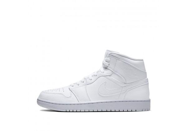 Nike Air Jordan 1 Mid Triple White белые