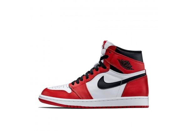 Кроссовки мужские Найк Air Jordan 1 Retro High OG Chicago красно-белые