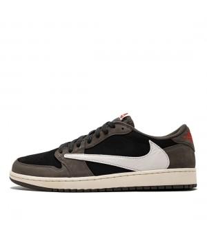 Nike кроссовки Air Jordan 1 Low x Travis Scott коричнево-чёрные с белым