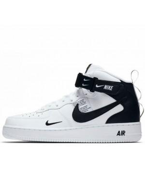 Nike кроссовки Air Force 1 07 LV8 Utility Mid White Black с мехом
