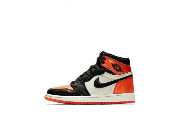 Кроссовки мужские Найк Air Jordan 1 Mid OG Shattered Backboard чёрно-оранжевые с белым